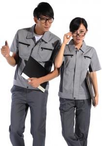 短袖工作服涤棉斜纹浅灰铁灰差色系列定做