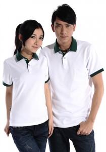 重庆白色极品酷棉双珠地素色POLO衫定做
