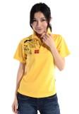 重庆黄色全丝排汗细珠地印花POLO衫定做