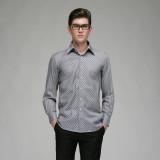 定做男士全棉修身灰黑条纹长袖衬衫定做