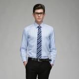 定做男士商务修身纯棉条纹长袖衬衫定做