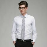 定做男士商务修身全棉细格长袖衬衫定做