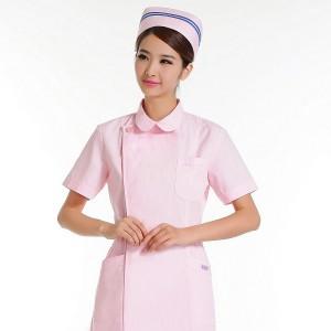 护士服短袖半袖夏装美容师药店工作服粉红白蓝色前台导医定做