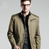 定做商务夹克男装春秋装商务夹克男休闲加厚外套中长款修身男士夹克衫定做