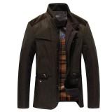 定做商务夹克男装秋装新款夹克商务休闲立领修身男士加厚夹克外套潮定做