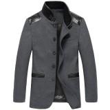定做商务夹克男装夹克秋冬新款毛呢外套男士立领修身夹克外套定做
