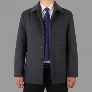 定做商务夹克中老年男装外套休闲夹克男式夹克衫男加厚羊毛夹克男修身定做