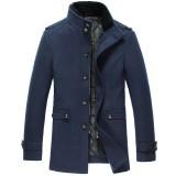 定做新款冬装加厚羊毛呢外套男中长款男士呢大衣男装呢子修身定做