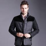 定做中老年男士装冬季新款商务休闲时尚羽绒服男韩版拼色外套定做