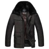 定做冬装加厚外套中年男翻领内胆可脱卸防寒服爸爸装中老年男装棉衣定做