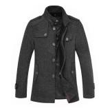 定做秋冬新款男装呢大衣男中长款翻领羊毛大衣修身毛呢外套定做