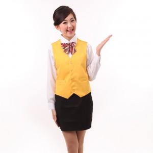 定做酒店家政保洁服务员马甲工作服女银行超市KTV马甲黄色广告马甲定做