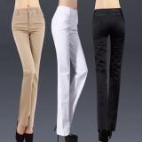 定做春装新品棉修身显瘦大码中腰休闲裤女西裤直筒裤定做