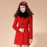 定做冬装新款韩版OL修身女装秋冬装毛领毛呢外套呢子大衣定做