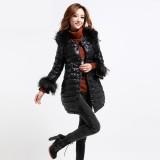 定做冬装新款韩版羽绒服外套毛领中长款大衣防寒服女装正品定做