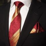 定做奢华经典红色真丝领带三件套男正装商务结婚婚庆套装定做