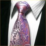定做独家设计色织真丝领带套装粉色孔雀花结婚领带套装定做