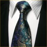 定做经典款式真丝领带男宝石蓝花纹正装商务结婚领带套装定做