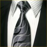 定做独特设计真丝领带三件套男黑色经典款正装商务领带定做