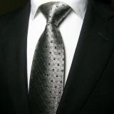 定做奢华经典款银色方格商务真丝领带男正装商务结婚领带定做