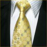 定做奢华典雅真丝领带三件套金黄色花纹结婚庆典领带套装定做