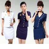 重庆空姐制服套装酒店工作服夏季短袖女技师服职业套裙定做