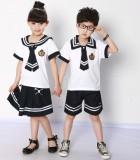 重庆厂家直销幼儿园园服夏装海军服中学小学生夏季校服套装表演服定做
