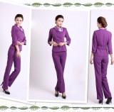 美容师工作服秋冬装美容院工作服裤装美容服装中袖套装紫色定做