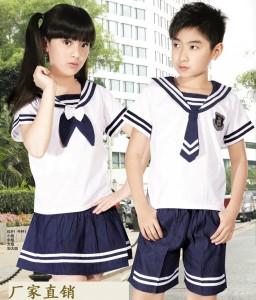 重庆中小学生儿童校服小学生夏季校服套装幼儿园园服夏装海军服定做定做
