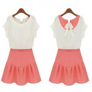 重庆最新款拼接亮色连体服女装夏天衣服欧洲站学院英伦风连衣裙子定做