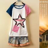 重庆新款夏装女装短袖T恤英伦学院风棉t恤定做
