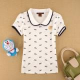 重庆夏装新款英伦学院风女式短袖包边娃娃领满身印花T恤衫定做