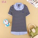 重庆夏装新款韩版英伦学院风少女学生装刺绣假两件套短袖T恤衬衫定做