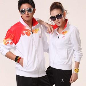 重庆学生校服男女通用白色情侣款涤纶团体健美健身操服装运动套装定做