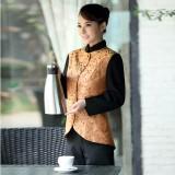 服务员工作服秋冬装女饭店茶楼服务员制服西餐厅工作服长袖定做