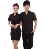 工装制服夏男女餐厅服务员服装快餐店服务员工服短袖定做