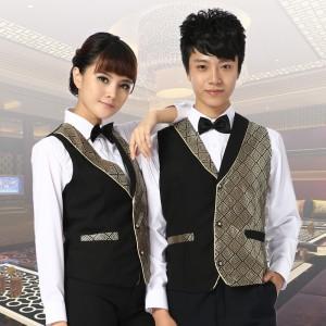重庆KTV服务员马甲男女酒店工作服马夹西餐厅服务员马甲制服定做