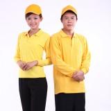 重庆快餐厅连锁店工作服t恤秋装文化衫广告衫翻领T恤纯色女定制定做