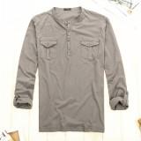 重庆初秋外单薄款纯棉针织男士工装风亨利领休闲长袖T恤打底衫定做
