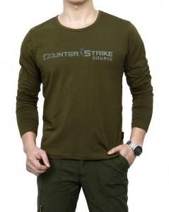 重庆免烫秋装男士军绿色t恤男军装t恤军旅工装休闲圆领长袖T恤定做