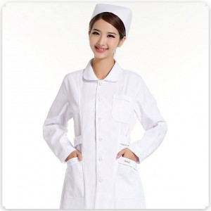 医生服冬装白色西服领收腰白大褂长袖女药店护士工作服定做