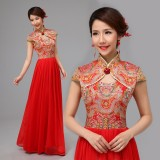 重庆新款新娘结婚敬酒礼服旗袍两件套龙凤刺绣褂高档长款红装定做
