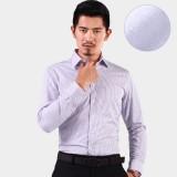 定做新品男士加绒保暖衬衫商务撞色加厚加绒衬衣白底紫条纹定做