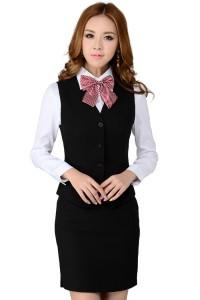 工作服前台餐厅餐饮茶楼饭店服务员夏装短袖马甲女定做