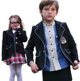 重庆校服童装园服镶边扣男女童小西装英伦风男童西装主持演出礼服定做