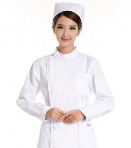 新款秋冬药店美容服医护加厚大码白粉色长袖护士服医用定做
