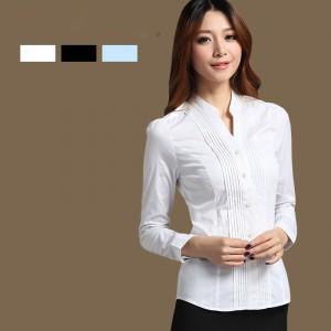 定做小立领女装衬衫女长袖简约显瘦连体白衬衣定做