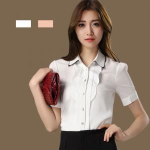 定做叠领通勤雪纺衬衫短袖女士职业白衬衣定做