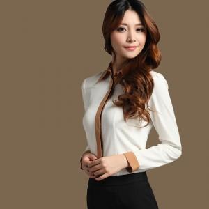 定做撞色雪纺衬衫长袖修身衬衣OL女装职业白领衬衫女定做