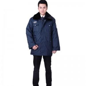 重庆男长袖棉衣工作服中长款保安大衣劳保服保安服棉服防寒服加厚定做